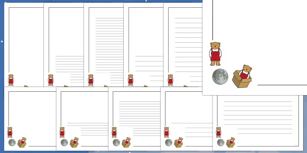 Page Borders to Support Teaching on Whatever Next! - Whatever Next!, Jill Murphy,  resources, space, baby bear, Large family, rocket, moon, owl, story, story book, story book resources, story sequencing, story resources ,Literacy, writing, page borde