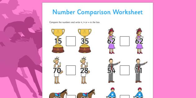 The Melbourne Cup Number Comparison Worksheets - australia, melbourne cup, number, comparison