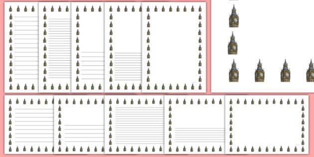 Big Ben Page Borders - big ben, london, english, britain, page borders, page, borders