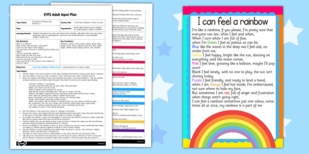 I Can Feel a Rainbow Poem Activity EYFS Adult Input Plan and Resource Pack - colours