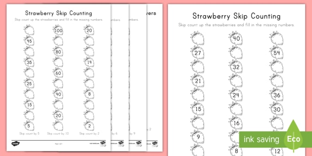 Strawberry Skip Counting Math Activity Sheets - strawberries, strawberry plants, strawberry farming, strawberry picking, worksheets, strawberry plan