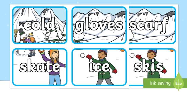 Winter Scene Topic Word Flashcards