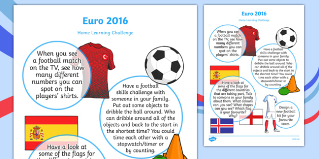 Euro 2016 Home Learning Challenge Sheet Nursery FS1