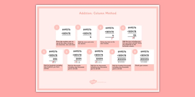 Addition of 6 Digit Numbers Display Poster - addition, 6 digit numbers, display poster, display, poster, 6 digit, numbers, add