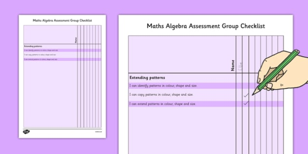 1999 Curriculum Junior Infants Maths Algebra Assessment Group Checklist - roi, irish, gaeilge, assessment, checklist, maths, junior infants, algebra