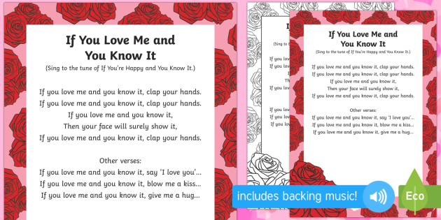 If You Love Me and You Know It Song - Valentine's day, love, hearts, friend