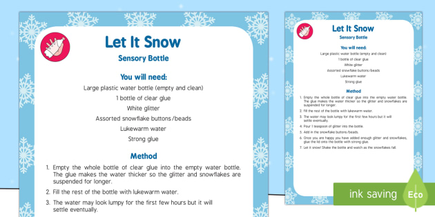 Let It Snow Sensory Bottle - let it snow, let, snow, sensory bin, sensory, bin