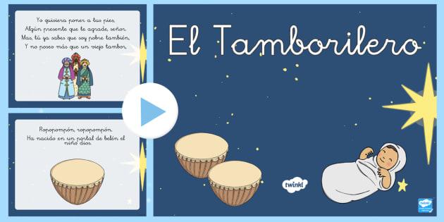 Presentación: El tamborilero-S - Presentación, PowerPoint, canción, Navidad, villancico, festival.,Spanish