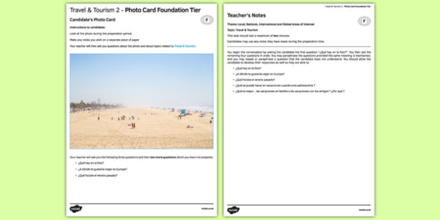 Travel and Tourism 2 Photo Card Foundation Tier - spanish, travel, tourism, viajes, photo-card, foundation, speaking
