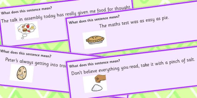 Food Idioms Sentence Cards Set 3 - food, idioms, sentences, set, sen