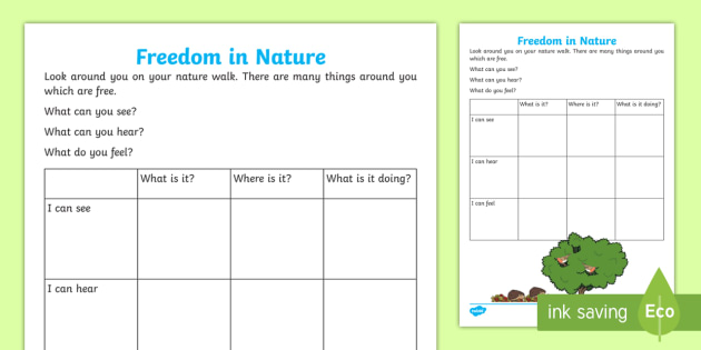 KS1 Freedom in Nature Activity Sheet - national poetry day, 28.9.17, observations, nature walk, senses, worksheet