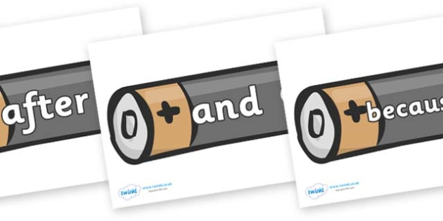 Connectives on Batteries - Connectives, VCOP, connective resources, connectives display words, connective displays