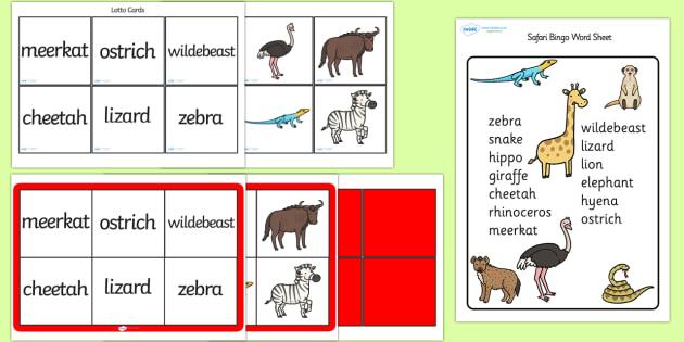 Safari Themed Bingo and Lotto Game Pack - safari, safari bingo, safari lotto, safari themed bingo, safari themed bingo pack, on safari, safari animals