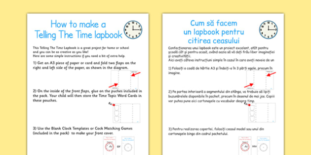 Telling The Time Lapbook Instructions Romanian Translation - romanian, lapbooks, instructions
