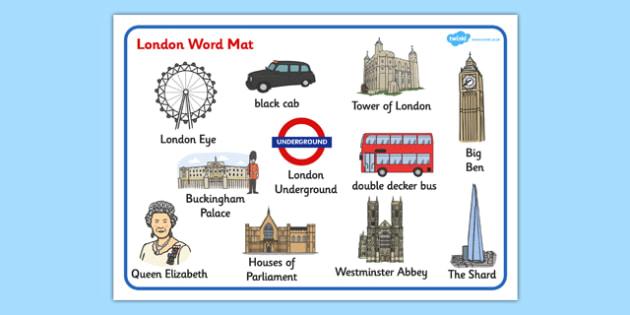London Word Mat - sights, mats, words, writing, aid, capital