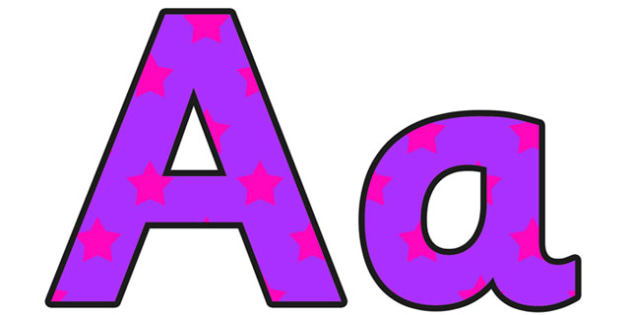 Purple and Pink Stars Small Lowercase Display Lettering - display lettering