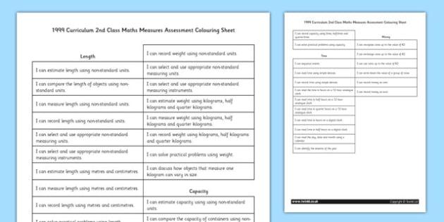 1999 Curriculum 2nd Class Maths Measures Assessment Colouring Sheet - roi, irish, republic of ireland