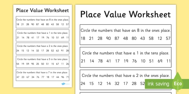 Place Value Activity Sheet  Digits  Place Value Worksheet