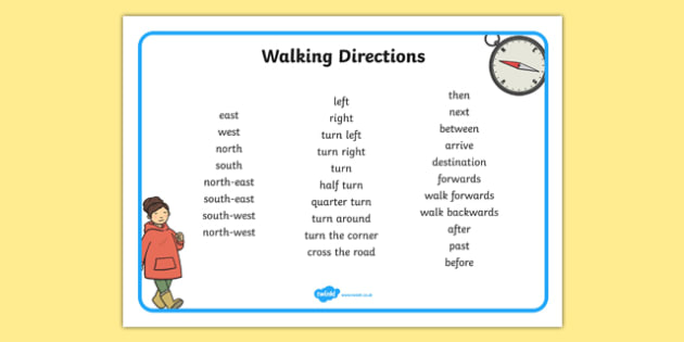 Walking Directions Direction Writing Word Mat - walking, directions, direction, writing, word mat