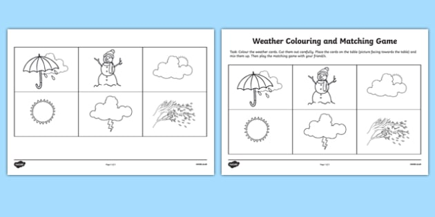 Weather Matching Game Activity Sheet - weather, matching game, match, game, activity, worksheet
