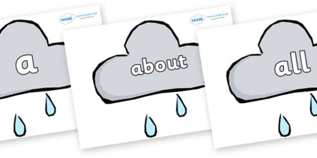 100 High Frequency Words on Weather Symbols (Rain) - High frequency words, hfw, DfES Letters and Sounds, Letters and Sounds, display words