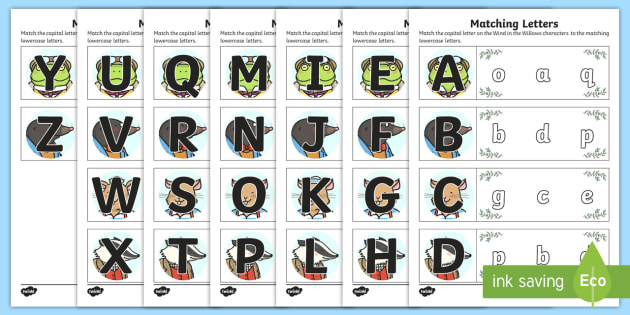 Wind in the Willows Themed Capital Letter Matching Worksheet