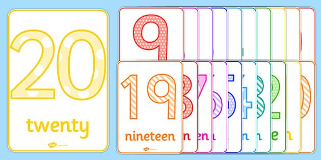 Numbers 0-20 Posters - numbers, 0-20, posters, display posters, display, poster