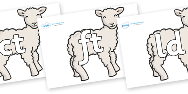 Final Letter Blends on Lambs - Final Letters, final letter, letter blend, letter blends, consonant, consonants, digraph, trigraph, literacy, alphabet, letters, foundation stage literacy