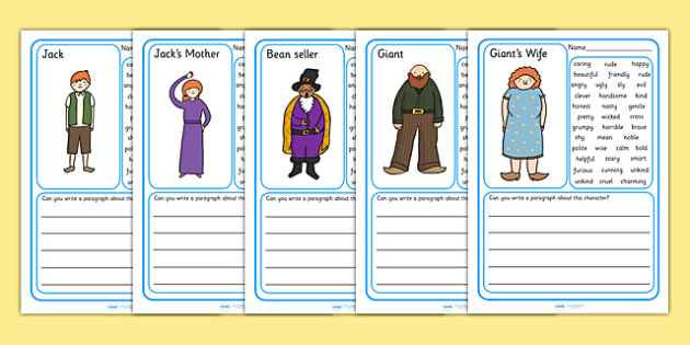 Jack and the Beanstalk Character Description Writing Frames - jack and the beanstalk, character descriptions, Characters, story, stories, attributes, features, personality, writing aid, writing frames, page borders, writing template, descriptive word