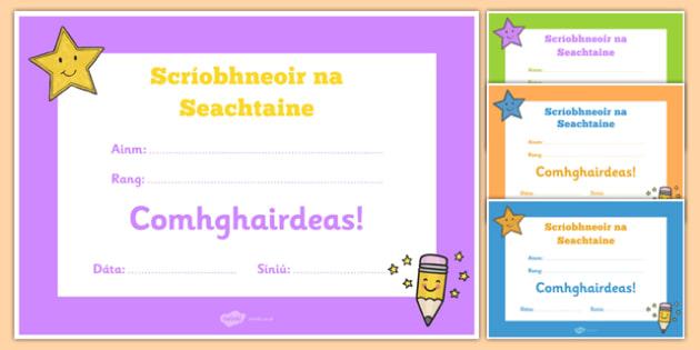 Scríobhneoir na Seachtaine Gaeilge Certificate