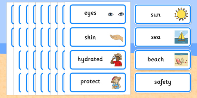 Sun, Sea and Beach Safety Word Cards