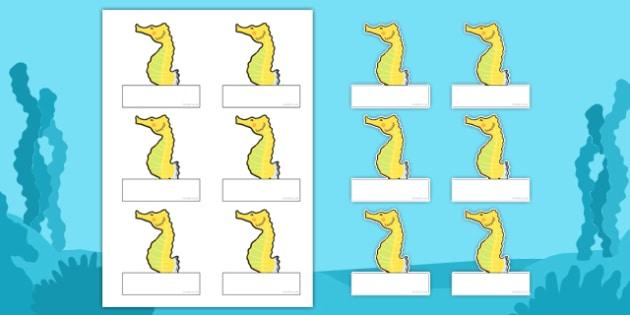 Seahorse Themed Editable Self Registration Labels - seahorse, editable, self-registration