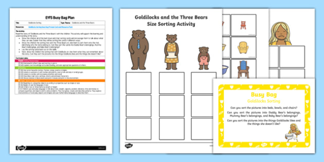 EYFS Goldilocks Sorting Activity Busy Bag Plan and Resource Pack