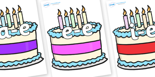 Modifying E Letters on Birthday Cakes - Modifying E, letters, modify, Phase 5, Phase five, alternative spellings for phonemes, DfES letters and Sounds