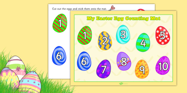 Easter Egg Counting Mat - easter, egg, counting, mat, count