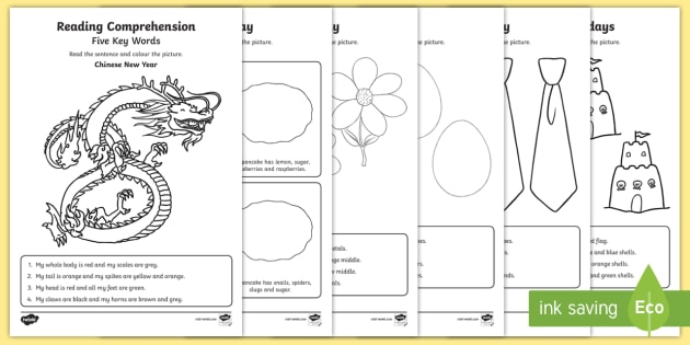 Five Key Words Reading Comprehension Activity Sheets Set 1  - ICW, key words, information carrying words, reading comprehension, listening, EAL, SLCN, worksheets