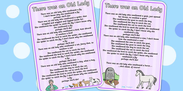 There was an Old Lady Nursery Rhyme Poster - rhymes, display