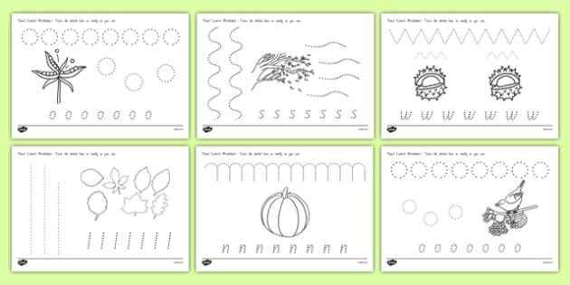 Autumn Themed Pencil Control Activity Sheets - nz, new zealand, pencil control worksheet, autumn, pencil control, autumn pencil control worksheet, autumn pencil control