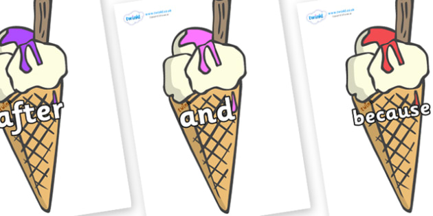 Connectives on Ice Creams to Support Teaching on The Very Hungry Caterpillar - Connectives, VCOP, connective resources, connectives display words, connective displays