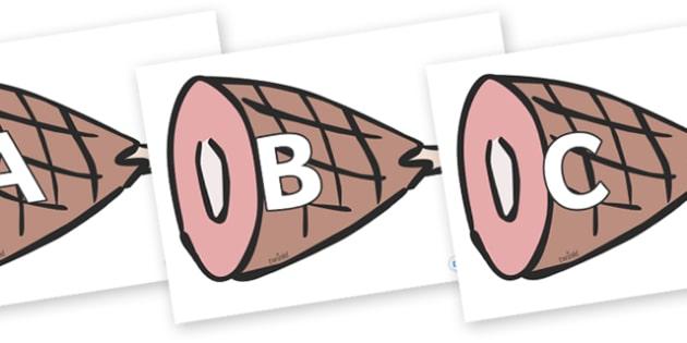 A-Z Alphabet on Hams - A-Z, A4, display, Alphabet frieze, Display letters, Letter posters, A-Z letters, Alphabet flashcards