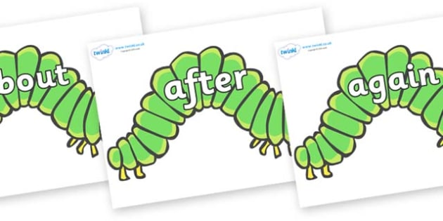 KS1 Keywords on Hungry Caterpillars to Support Teaching on The Very Hungry Caterpillar - KS1, CLL, Communication language and literacy, Display, Key words, high frequency words, foundation stage literacy, DfES Letters and Sounds, Letters and Sounds,