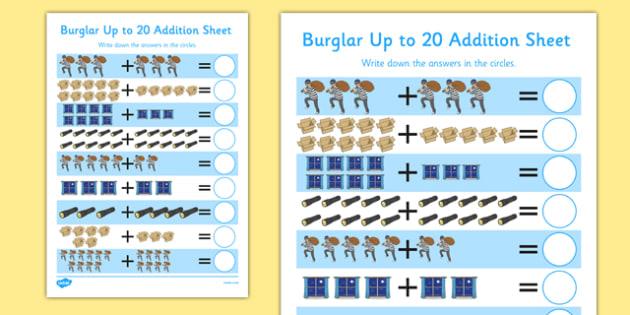 Burglar Up to 20 Addition Sheet - burglar bill, burglar, 20, addition, sheet