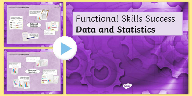 Functional Skills Data and Statistics Success Powerpoint - KS4, KS5, adult education, maths, numeracy, functional skills, SEN, assessment, objectives