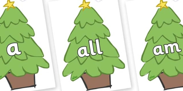 Foundation Stage 2 Keywords on Christmas Trees (Plain) - FS2, CLL, keywords, Communication language and literacy,  Display, Key words, high frequency words, foundation stage literacy, DfES Letters and Sounds, Letters and Sounds, spelling