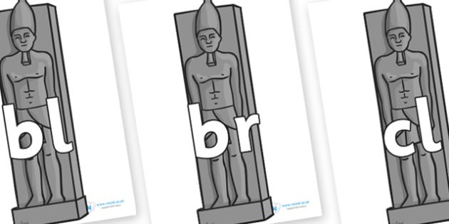 Initial Letter Blends on Egyptian Statues - Initial Letters, initial letter, letter blend, letter blends, consonant, consonants, digraph, trigraph, literacy, alphabet, letters, foundation stage literacy