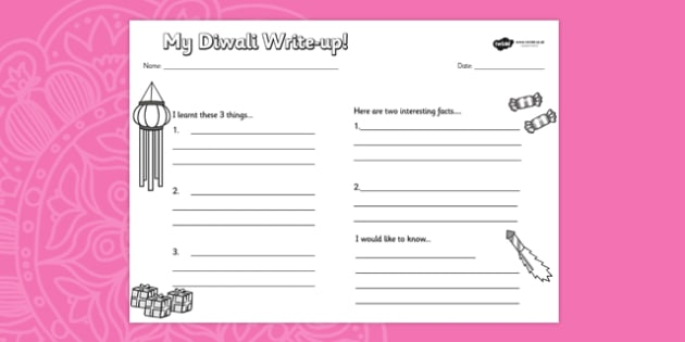 Diwali Topic Write Up Worksheet - review, writing aid, hinduism