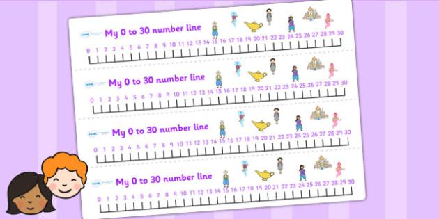 Aladdin Number Lines 0 30 - aladdin, numberline, 0-30, visual aid