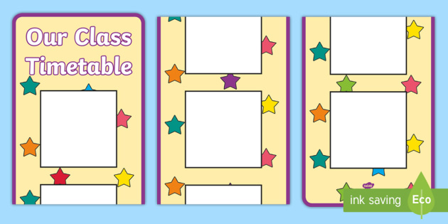 Multicoloured Stars Themed Vertical Visual Timetable Display