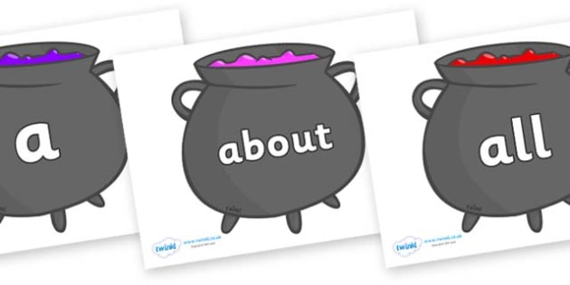 100 High Frequency Words on Cauldrons (Plain) - High frequency words, hfw, DfES Letters and Sounds, Letters and Sounds, display words