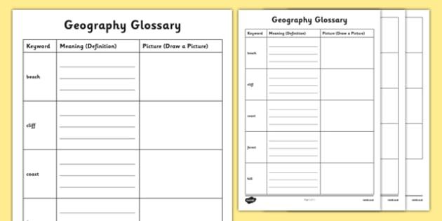 Physical Geography KS1 Glossary Activity